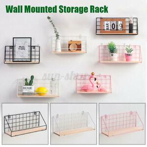 Metal & Wood Wall Shelf Shelves Hanging Rack Hook Industrial Modern Storage Home