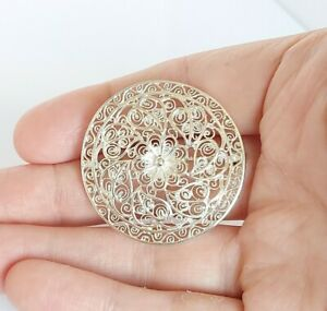 Beautiful Detailed 800 Fine Silver & Floral Filigree Design Pin Brooch 5.3g