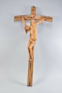 e44w01- Kruzifix, Wandkreuz, Jesus, Holz geschnitzt