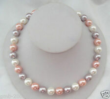 """Genuine AAA 10mm Multicolor South Sea Akoya Shell Pearl Necklace 18"""""""