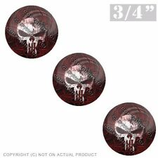 """3 Pack Gel Top Domed Glossy 3/4"""" 3M Premium Decal Stickers PUNISHER SKULL PINSTR"""