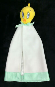 "Baby Looney Tunes Tweety Bird Security Blanket Satin White Lining Mint Green 12"""