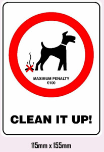CLEAN IT UP DOG POO STICKER PENALTY