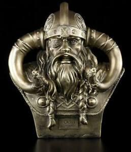 Odin Büste mittel S2 - Deko Figur Wikinger Gott Asen Helm Hörner Krieger