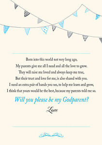 WILL YOU BE MY GODPARENT? CARD Bunting Cream background