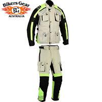 Australian Bikers 2PCS SUIT Motorcycle HiViz Waterproof Jacket + Trouser CE armo