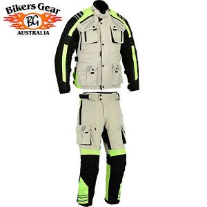 Motorcycle Motorbike Biker 2PCS SUIT HiViz Waterproof Jacket+Trouser CE armoured