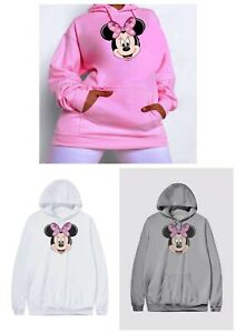 Pink Minnie Mouse Hoodie Plus Size 16-34 Grey Disney Top White sweater Jumper M4