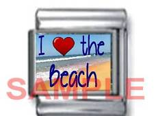 I LOVE (HEART) THE BEACH 9MM ITALIAN CHARM LINK ocean shore coas