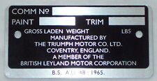 Commission Number Plate For Triumph Spitfire MK4 TCP1009