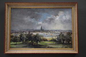 Original impressionist manner painting European coastal city landscape Signed