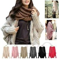 Womens Cardigan Thick Loose Knitted Poncho Cape Shawl Batwing Wrap Sweater Top