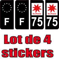 4 Autocollants 2 paires Stickers style Auto Plaque Black Edition noir F+ 75