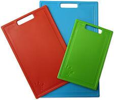 Set of 3 Chopping Boards Non-Slip 3-Piece Dishwasher Safe Plastic Cutting Board