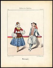 Antique Print-BRITTANY-FRANCE-WOMAN-TRADITIONAL COSTUME-DRESS-Schneider-1844