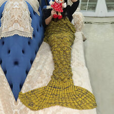 Adult Kids Mermaid Tail Sofa Blanket Super Warm Hand Crocheted Knitted Quilt Rug