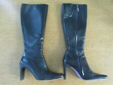 TED BAKER GOBI BLACK LEATHER ZIP UP BOOTS LILAC LINING SIZE 3  9cm HEELS BOXED