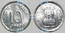 Inida 10 paise 1989 16mm steel coin km40.1 UNC