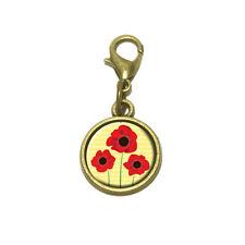 Red Poppies Flower Cute Bracelet Pendant Charm