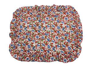 RALPH LAUREN Standard Pillow Sham Falmouth Floral Red Ruffled Made in USA