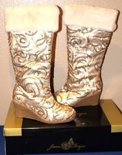 Joan Boyce Shari GOLD SEQUIN With Faux Fur Cuff Tall Wedge Heel Boots Size 10W