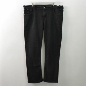 True Religion Mens 42 Ricky Relaxed Straight Jeans Stretch Black Made USA 42X32