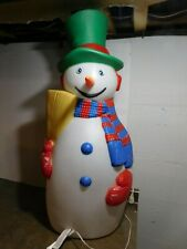 "Vtg 1988 40"" Tpi Top Hat Broom Scarf Mittens Christmas Holiday Snowman Blow Mold"