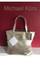 MICHAEL KORS gold metallic tote bag purse shopper shoulder Travel handbag