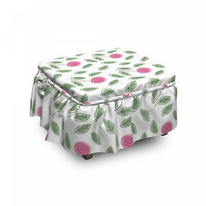 Ambesonne Rose Ottoman Cover 2 Piece Slipcover Set and Ruffle Skirt