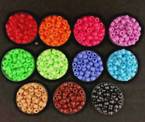 200pcs Colorful Beads Cylinder Round Acrylic Spacer Loose Beads DIY Jewelry 5MM