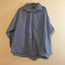 Arrow mens shirt size 17 1/2 classic fit lt blue with blue stripes wrinkle free