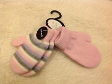 Early days pink white grey striped knitted scratch mitts mittens