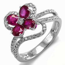 18K SOLID WHITE GOLD PAVE DIAMOND RUBY RING