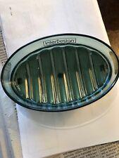 InterDesign York Oval Soap Dish, Green Acrylic/Chrome Base. Preowned.