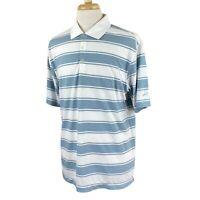 Nike Golf Men's Dri Fit Short Sleeve Blue Gray Stripe Polyester Polo Shirt Large