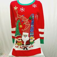 Women's Ugly Christmas Sweater Santa Elves with Tall Hats Small  multi textured