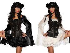 "Blusa larga ""Novia pirata"" Vestido de pirata en negro/blanco incl. Tanga"