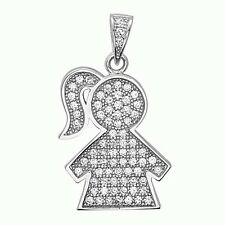 Baby Girl Kids Pendant Charm .925 Sterling Silver CZ Hand Set Micro Pave
