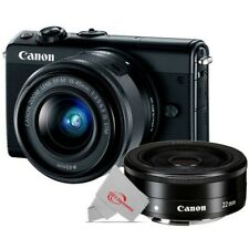 Canon EOS M100 Mirrorless Digital Camera White with 15-45mm + EF-M 22mm STM Lens