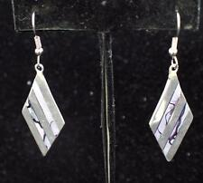 Abalone Dangle Rhombus Pierced Earrings Alpaca Mexico Silvertone Mother of Pearl