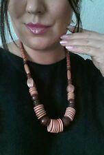 Modeschmuck Damenschmuck Holzkette braun Hakenverschluß 60cm Halskette Kette #27