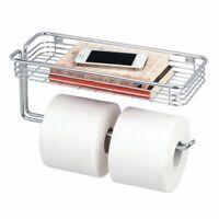 mDesign Metal Wall Mount Toilet Tissue Paper Holder/Storage Shelf - Chrome