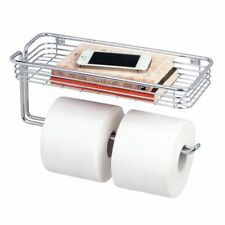 mDesign Metal Wall Mount Toilet Tissue Paper Holder/Storage Shelf - Chrome