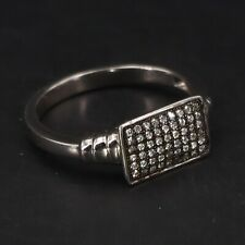 Ridged Cocktail Ring Size 8 - 3g Sterling Silver - Celine F Cubic Zirconia Pave