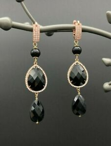 Earrings with Faceted Natural Black Onyx, Obsidian & Rose Gold Cubic Zirconia