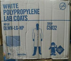 30 WHITE LAB COATS 100% POLYPROPYLENE Buttons Snap Up Front  Size Large