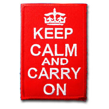 Keep Calm and Carry On Patch Iron on Embroidered Motorcycle Club Biker Navy MC