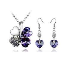 Elegant Deep Purple Jewellery Set 4 Leafs Clover Necklace & Hearts Earrings S379