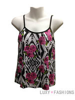 WOMENS/LADIES MULTI FLORAL PRINT SLEEVELESS STRAPPY CAMISOLE CAMI VEST TOP 8-14