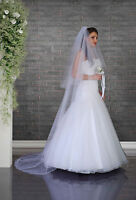 2 Tier Cathedral Wedding Veil Crystals and Comb Attached VD-126